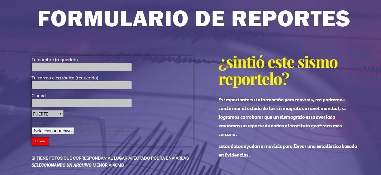 REPORTE DE SISMO MOVISIS